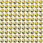 100 golden silver bright Icons — Stock Photo