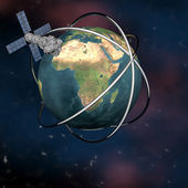 Satelite sputnik orbiting earth — 图库照片