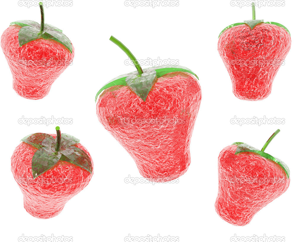 Glass strawberry in 3D isolated on white background — Photo #1145598
