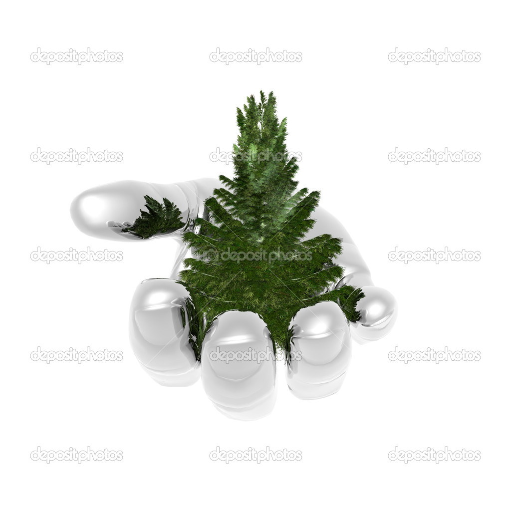 Bare Christmas tree ready to decorate on metal hand — Stock Photo #1145858