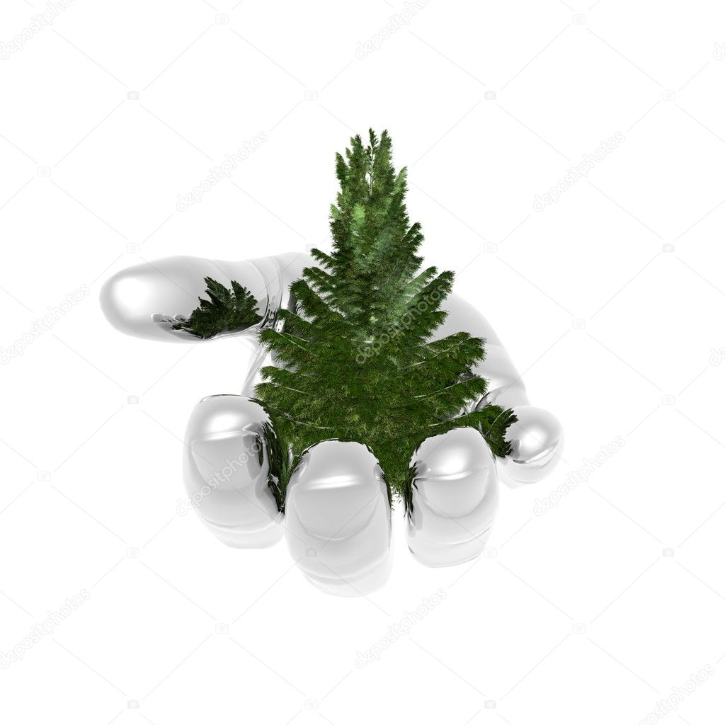 Bare Christmas tree ready to decorate on metal hand — Zdjęcie stockowe #1145858