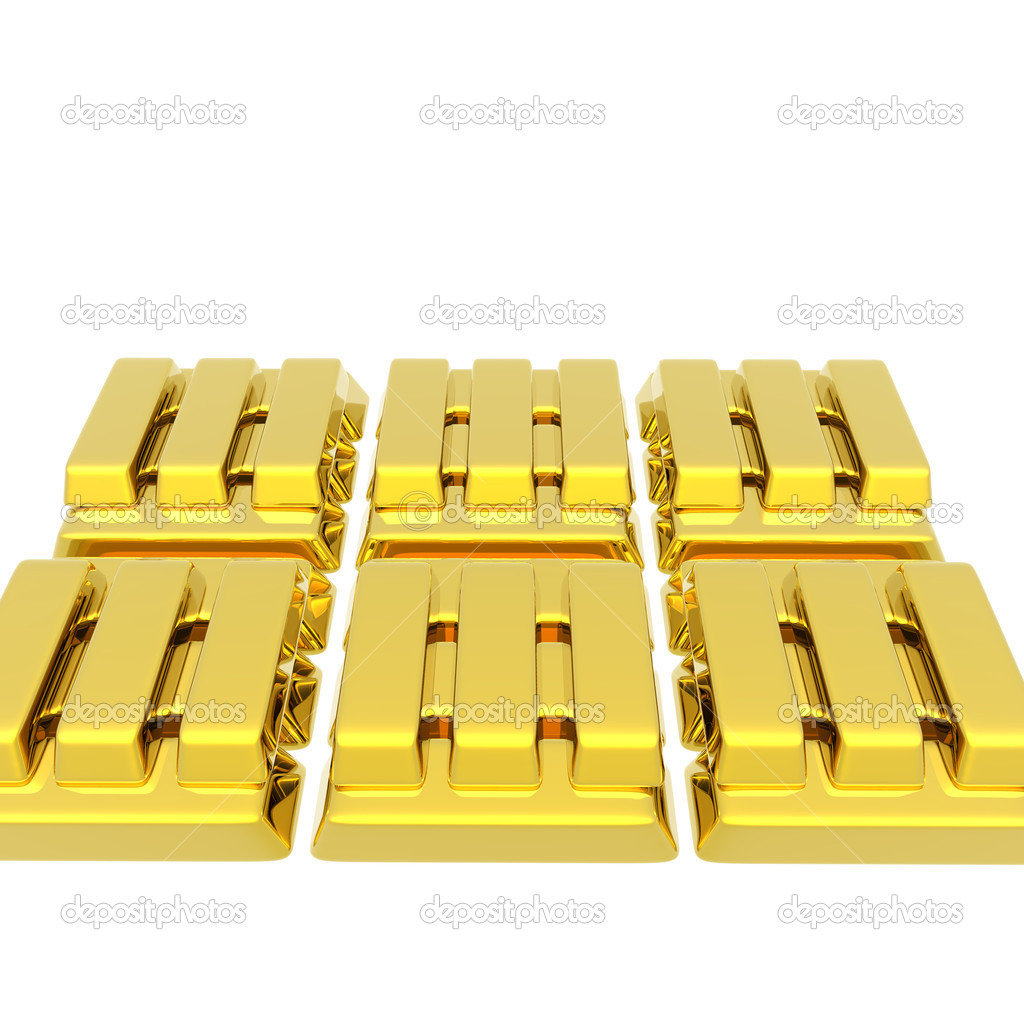 Stacked bars of gold bullion isolated on a white — Stock Photo #1145915