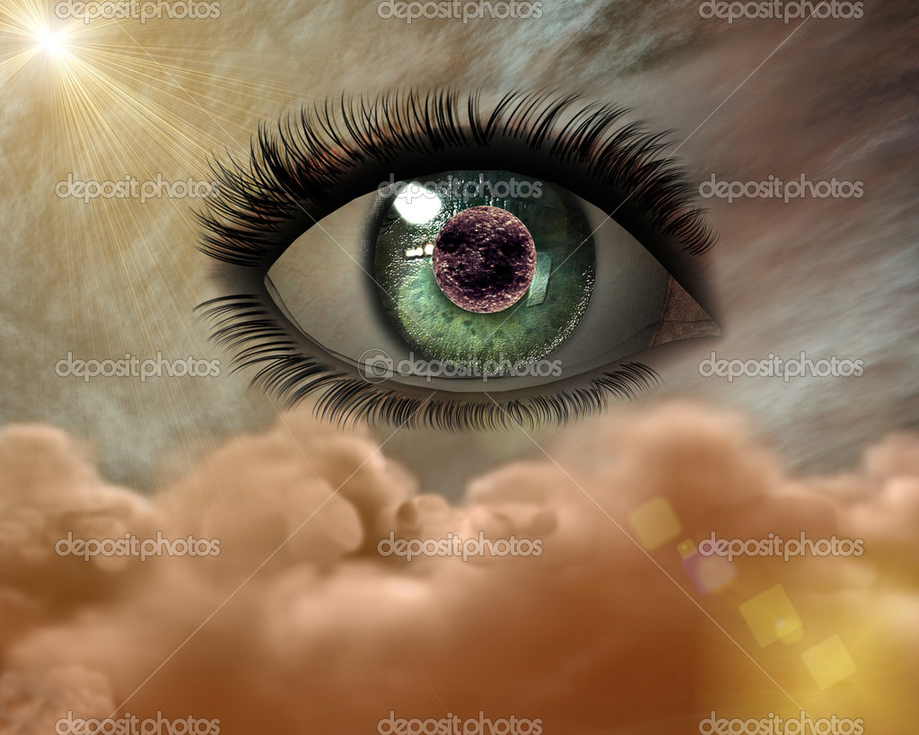 Beautiful 3D girl eye in the sky — Stock Photo #1145978