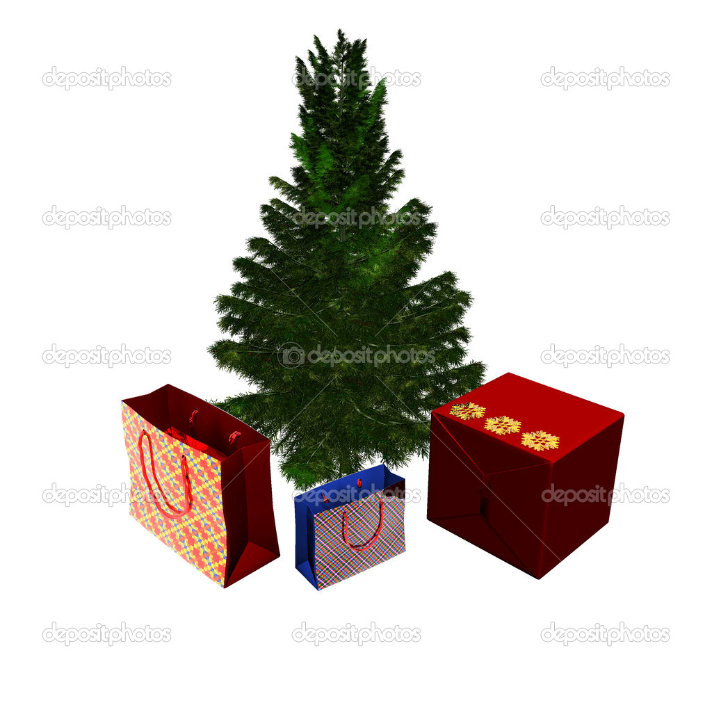 Bare Christmas tree ready to decorate with gifts box on white — Stock Photo #1146127