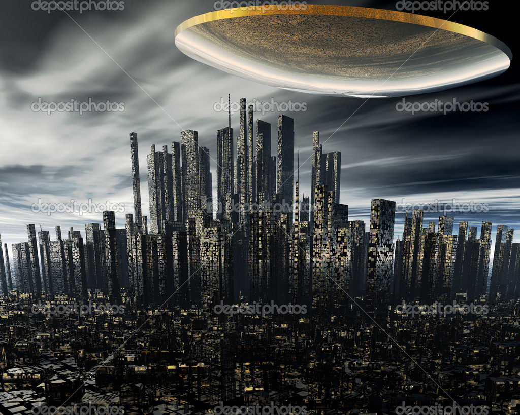 3d alien UFO space ship above night city  Stock Photo #1146286