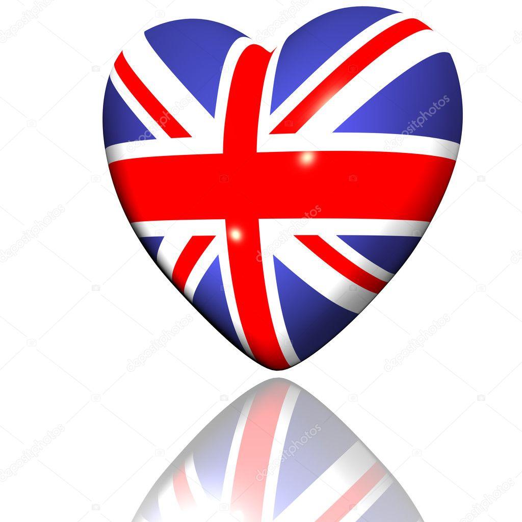 Coeur avec texture de drapeau grande bretagne isol - Drapeau rouge avec drapeau anglais ...