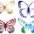 Stock Photo: Bright metal butterfly isolated on white