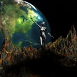 Girl points to 3d earth — Stock Photo