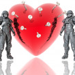 Stock Photo: 3d soldiers ward red heart