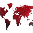 Red metal world map silhouette — Stockfoto