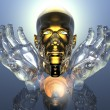 3D golden men head in glass hands — Foto de Stock