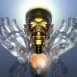 3D golden men head in glass hands — Stok fotoğraf