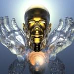 3D cabeça de homens de ouro nas mãos de vidro — Fotografia Stock  #1328085