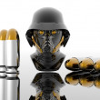 3d soldiers in a gas mask with bullets — Stock Photo #1328125