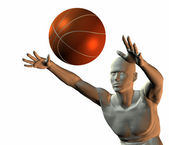 Cyber boy with basket ball — Stock Photo