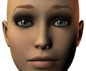 Girl face in 3D with emotion — Stock Photo