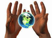 3D earth on 3D hands — Stock Photo