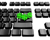 Keyboard with green us dollar — Stock Photo