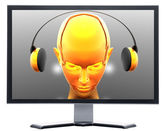 Monitor with metal screen — Stock Photo