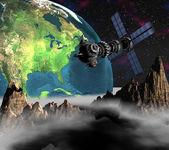 Satelitarna sputnik orbicie ziemi — Zdjęcie stockowe