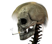 3D skull with cigarette — Stockfoto