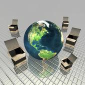 Gift box with globe — Stock Photo