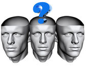 3D man heads with blue question mark — Stock Photo