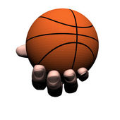 Hand with basket ball — Stock Photo