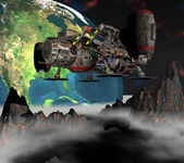 спутниковый спутник орбите 3d земли — Стоковое фото