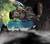 Satellit sputnik kretsar kring 3d jorden — Stockfoto