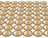 Golden usa dollar coins on the white — Stock Photo
