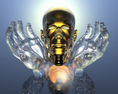 3D golden men head in glass hands — Stock Photo