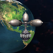 地球在空间轨道上运行的卫星 sputnik — 图库照片