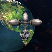 宇宙で地球を周回衛星スプートニク — ストック写真
