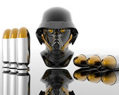 3d soldiers in a gas mask with bullets — Stock Photo