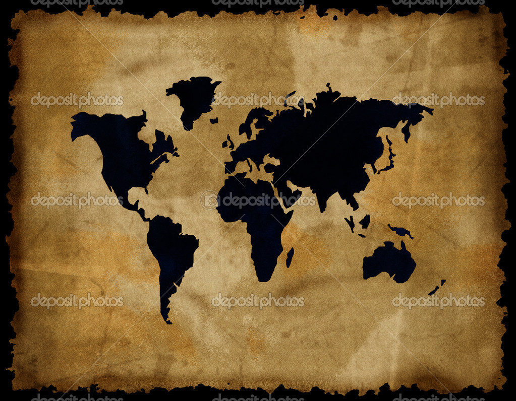 Old world map on grunge retro paper  Stock Photo #1327804