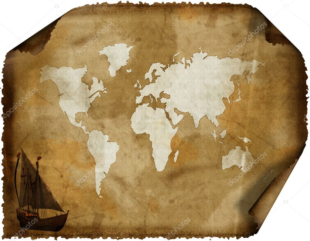 Old world map on grunge retro grunge paper — Stock Photo #1327859