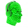 3d men textured face with headphone — Stock Photo