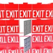 3D exit red signs isolated on a white — Foto de Stock