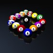 Fifteen pool billiard balls — Stock Photo #1881475