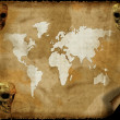 Old world map on grunge retro paper — Stock Photo #1881606