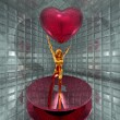 3d golden virtual girl with red heart — Stock Photo