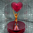 3d golden virtual girl with red heart — Stock Photo #1881756