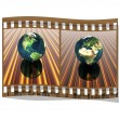 Film with 3D globe — Stock Photo