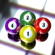 Stock Photo: 4 pool billiard ball