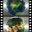 Film with 4 images of the earth  — Stock fotografie