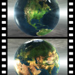 Film with 4 images of the earth — Stock Photo