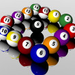 Fifteen pool billiard balls — Stock Photo #1882021