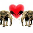 Two 3d elephant with red heart — Stock Photo #1882043