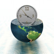 Stock Photo: Wall clock on earth hemisphere